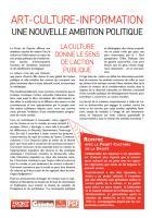 Front de Gauche pour l'Art, la Culture et l'Information / Une nouvelle ambition politique (avril 2011)